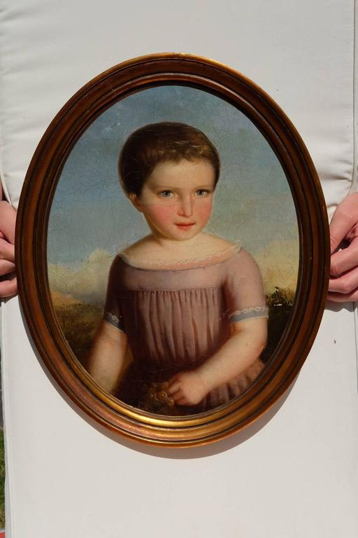 Beautiful oval oil painting, on board, 19th century, French, not signed. Great condition. Wood framed.