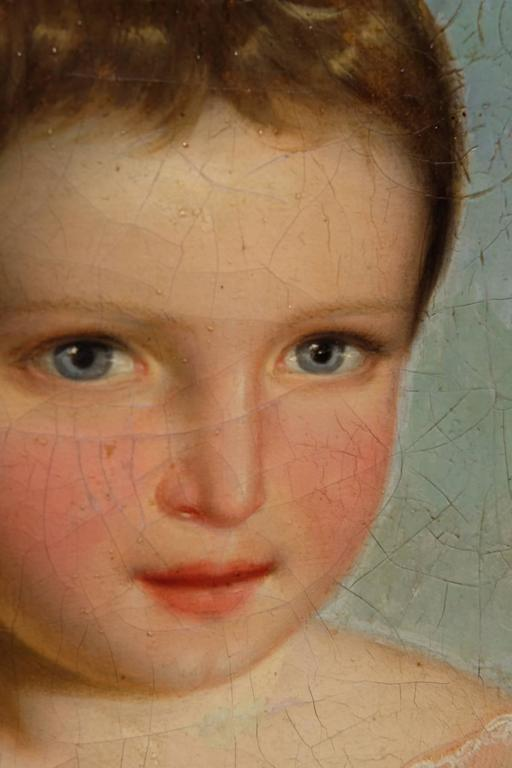 Empire Oil Paint Portrait of a Young Girl For Sale