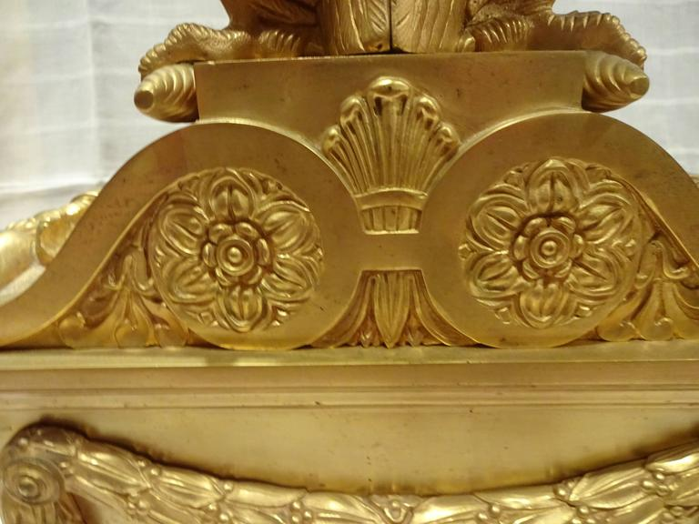 Oversized Chenets, Architectural Elements 19th Century, Gilt Bronze Eagles For Sale 1