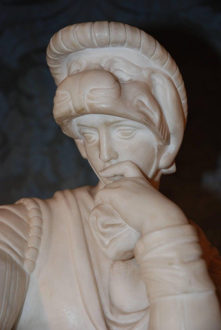Renaissance Revival Marble Sculpture, Lorenzo de Medici For Sale