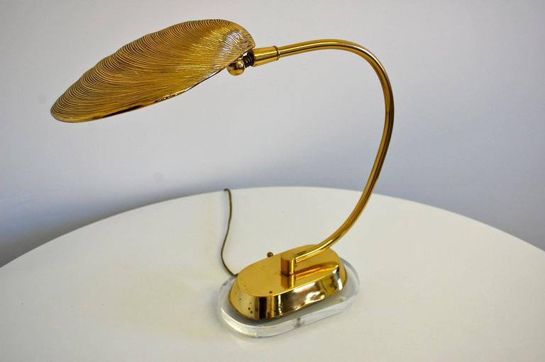 brass shell desk lamp on lucite base 1970s at 1stdibs. Black Bedroom Furniture Sets. Home Design Ideas