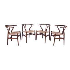 "Four Hans J Wegner for Carl Hansen ""Wishbone"" Dining Chairs Model CH-24-Oak"