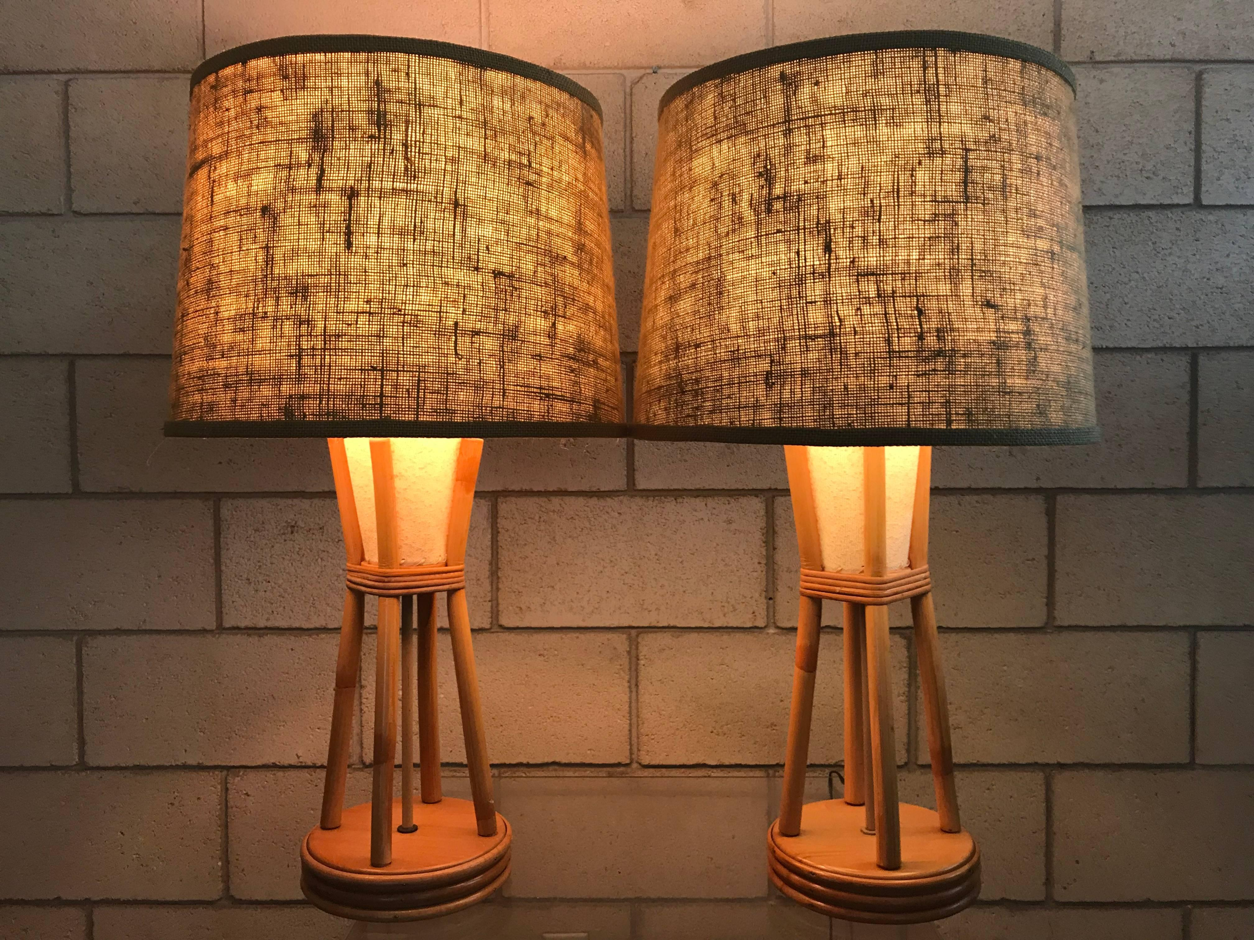 Wonderful Pair Of Paul Frankl Style Mid Century Modern Bamboo Tiki Lamps.  These Lamps