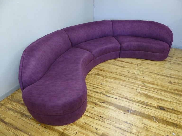 1980s monumental three-piece sectional attributed to Milo Baughman for Thayer Coggin cloud sofa.   Overall in good shape, recommended for reupholstery. One tear to the back of one section.   Dimensions: 138