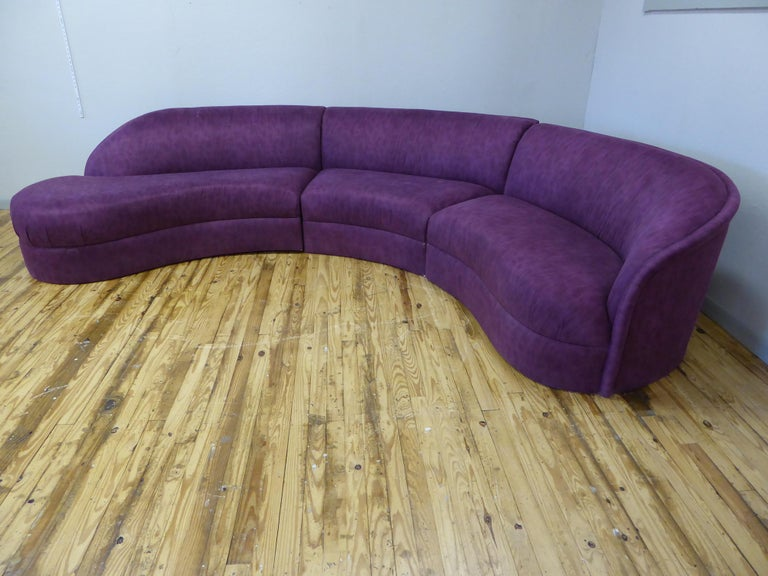 Three Piece Curved Sectional Cloud Sofa For Sale At 1stdibs