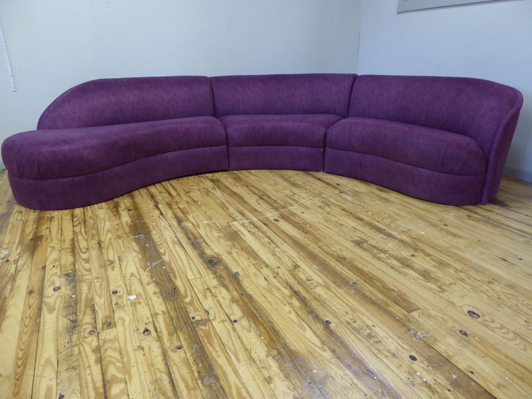 American Three Piece Curved Sectional Cloud Sofa For Sale
