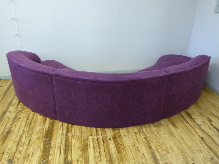 Three Piece Curved Sectional Cloud Sofa In Good Condition For Sale In Southampton, NJ