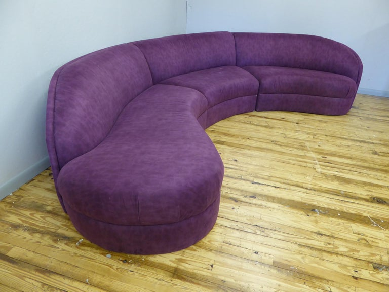 Ultrasuede Three Piece Curved Sectional Cloud Sofa For Sale