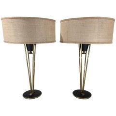 Pair of Atomic Era Gerald Thurston for Lightolier Rocket Table Lamps