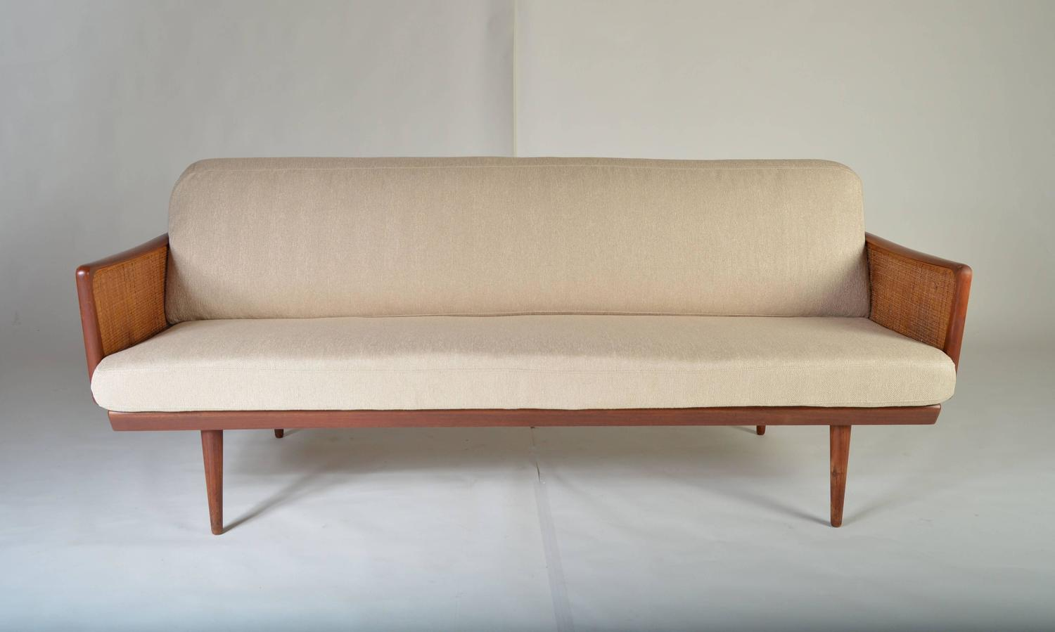 Danish Modern Teak And Cane Sofa By Peter Hvidt At 1stdibs