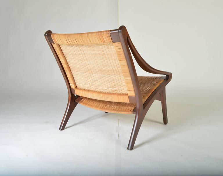 Early IB Kofod Larsen Walnut And Cane Easy Chair 2
