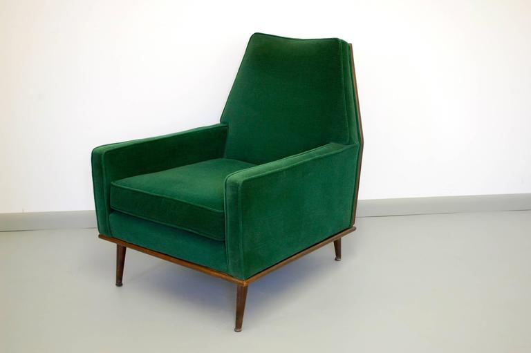 Incredible Lounge Chair in Emerald Green Mohair 1950s at