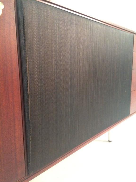 Mid Century Custom Teak Audiophile Record Stereo Cabinet