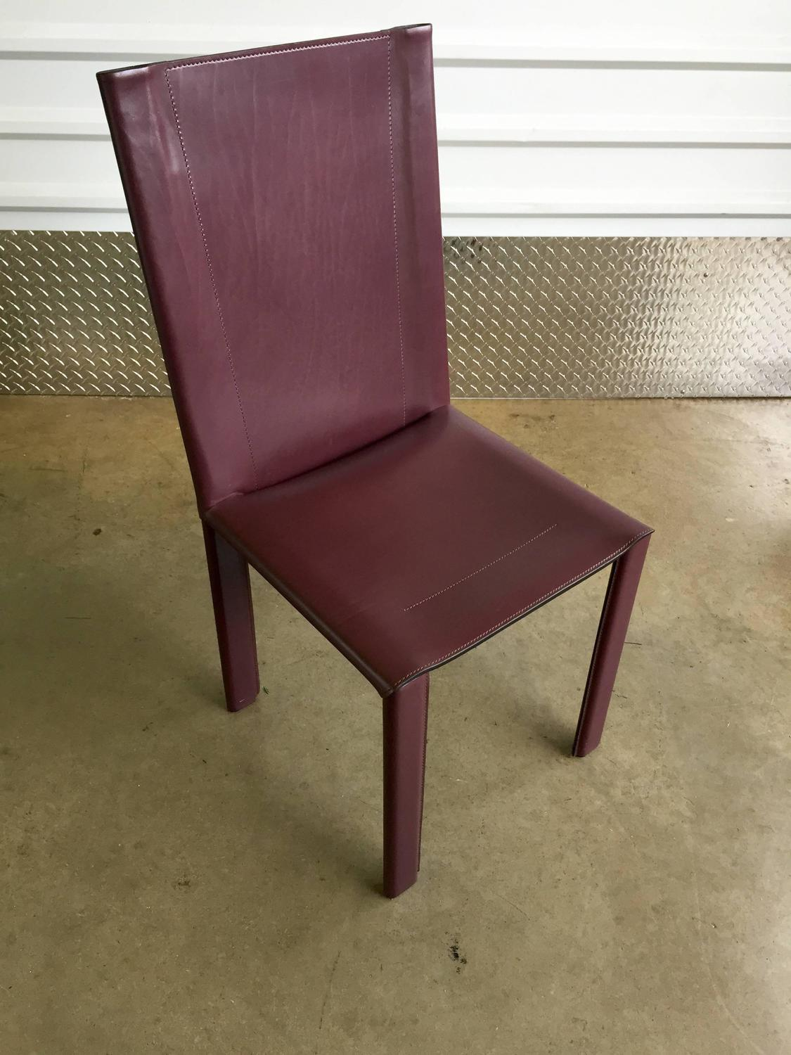 Impressive bordeaux leather and steel dining chairs by for Leather and steel dining chairs