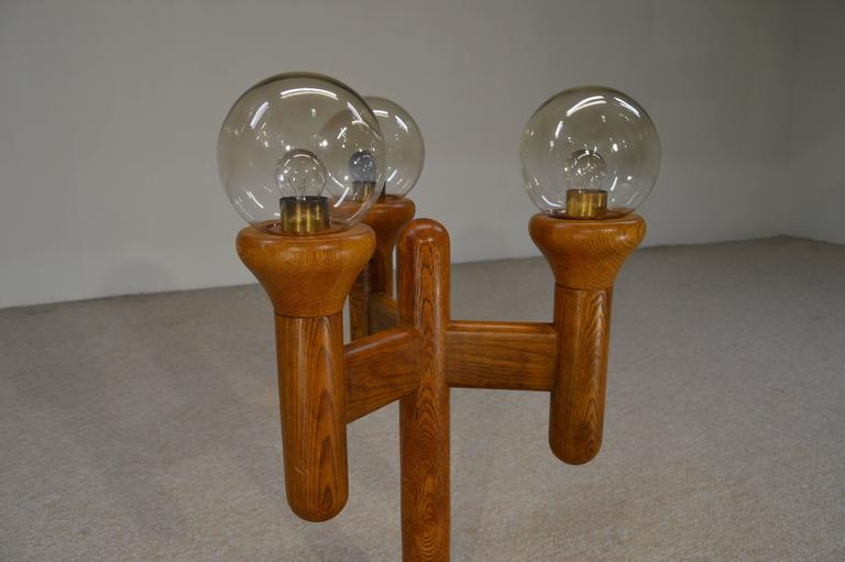 Oak And Glass Table Lamps: Mid-Century Sculptural Cactus Style Table Lamp Oak With