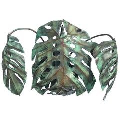 "Enameled Copper Monstera ""Swiss Cheese Plant"" Wall Sconce by Garland Faulkner"