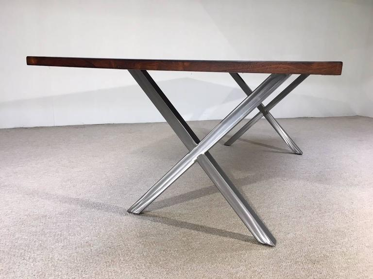Milo Baughman Style Brushed Nickel X Base and Brazilian  : IMG2733l from www.1stdibs.com size 768 x 576 jpeg 51kB