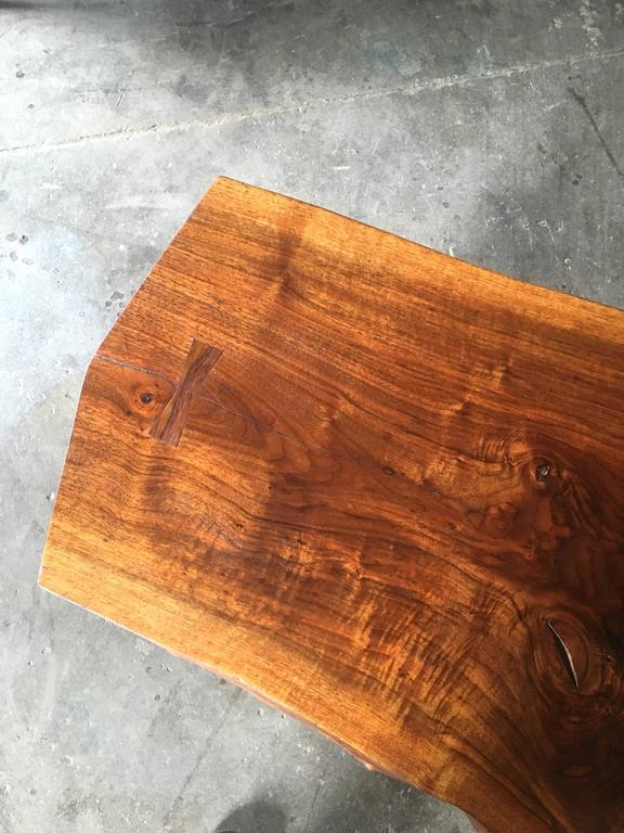 Mid-Century Gino Russo Sculptural Free-Form Walnut Table Suite In Excellent Condition For Sale In Southampton, NJ