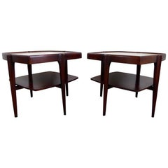 Sculptural Mahogany and Travertine Side Tables, 1960s