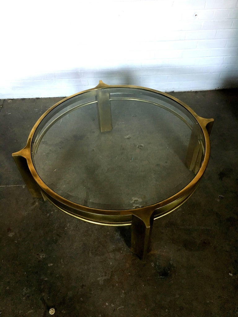 Mastercraft round brass cocktail table for sale at 1stdibs Brass round coffee table