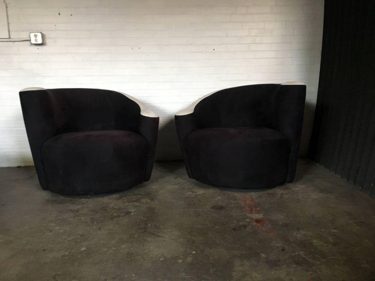 Pair of Vladimir Kagan for Weiman Nautilus Swivel Chairs For Sale 1