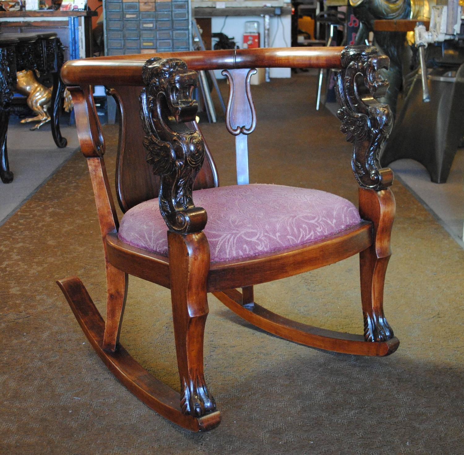 Antique Wood Rocking Chair Carved Griffin Lion Dragon For Sale at ...