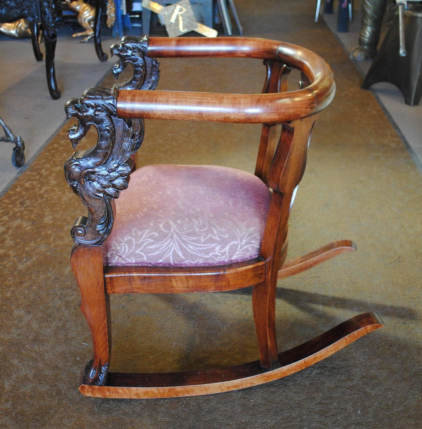 antique wood rocking chair carved griffin lion dragon for sale at