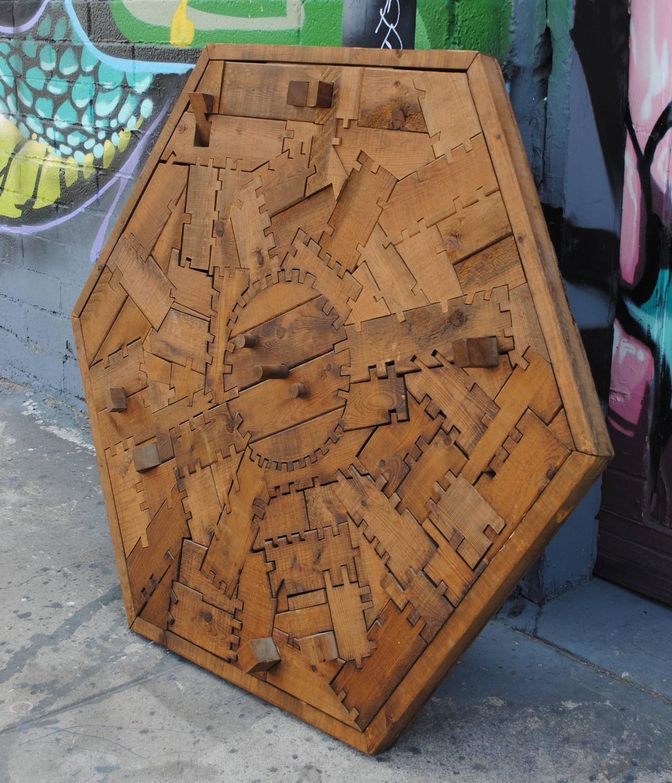 mid century modern wood puzzle wall art at 1stdibs. Black Bedroom Furniture Sets. Home Design Ideas
