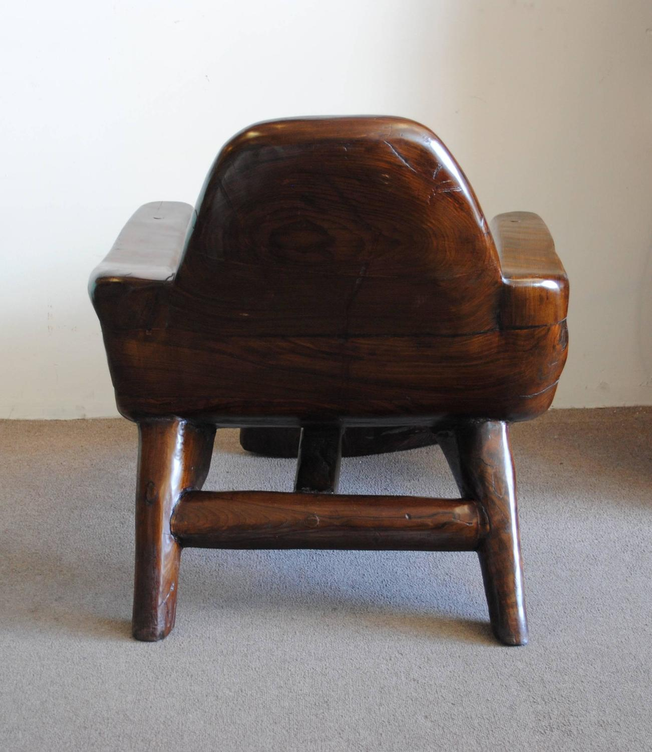 Vintage curved wood lounge chair style of alexandre noll for Curved lounge
