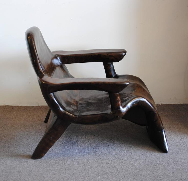 Vintage Curved Wood Lounge Chair Style of Alexandre Noll at 1stdibs