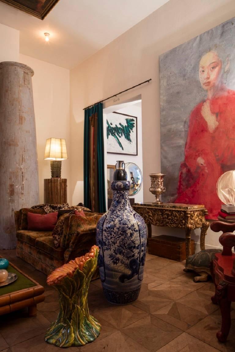 'Untitled 2013 - Lady in Red' by the Belgian visual artist Didier Mahieu (°1961). Oil on canvas, Belgium, 2013.   Didier Mahieu est né à Jemappes en 1961. Il a étudié à l'Ecole supérieure des Arts Plastiques et Visuels à Mons, est professeur