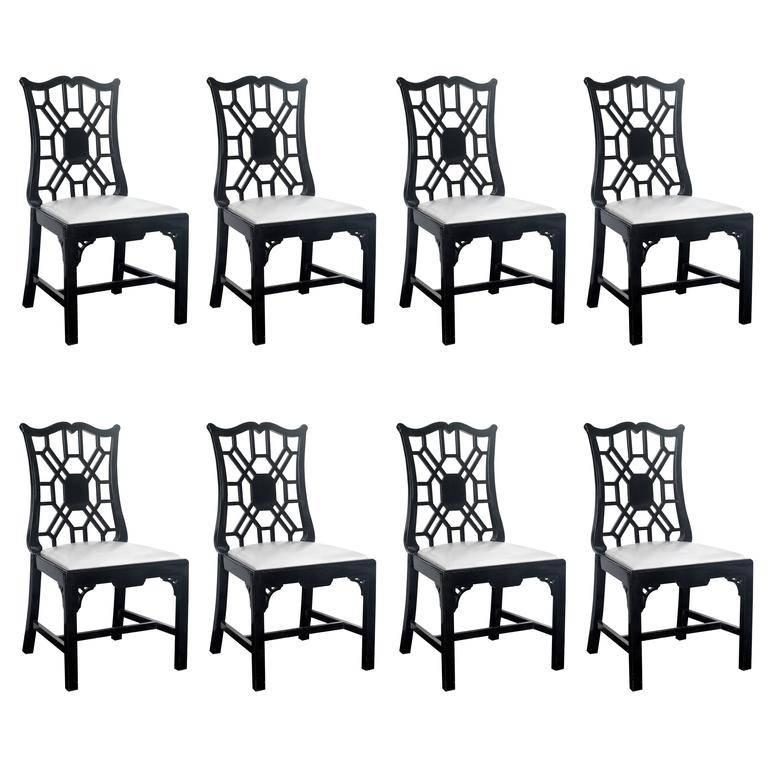 Set of Eight Chinese Chippendale Dining Chairs
