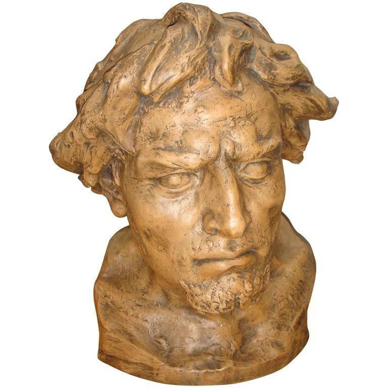 Plaster Model of a Male Bust by Aloïs De Beule, 1913 For Sale
