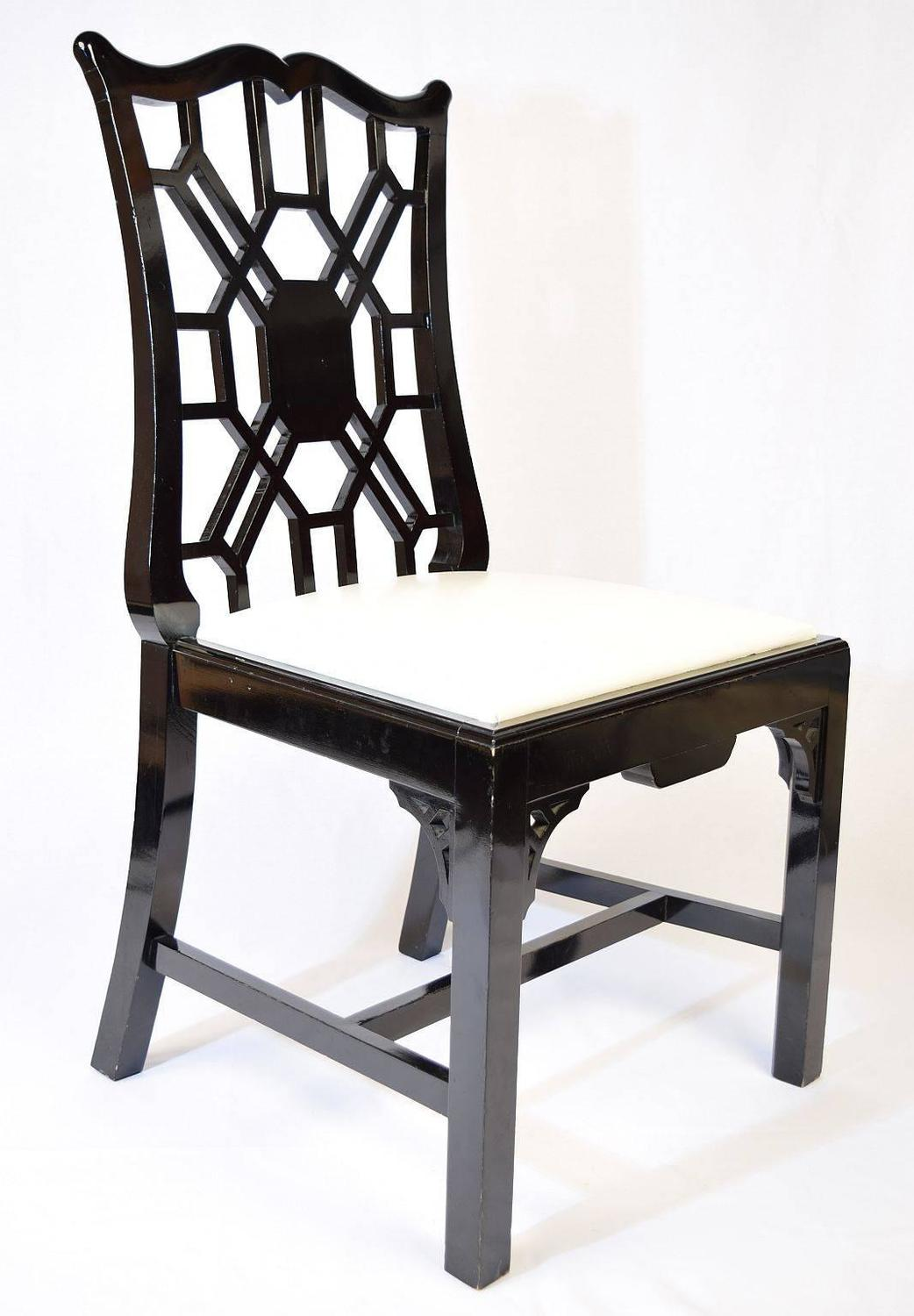 set of eight black lacquer dining chairs for sale at 1stdibs. Black Bedroom Furniture Sets. Home Design Ideas