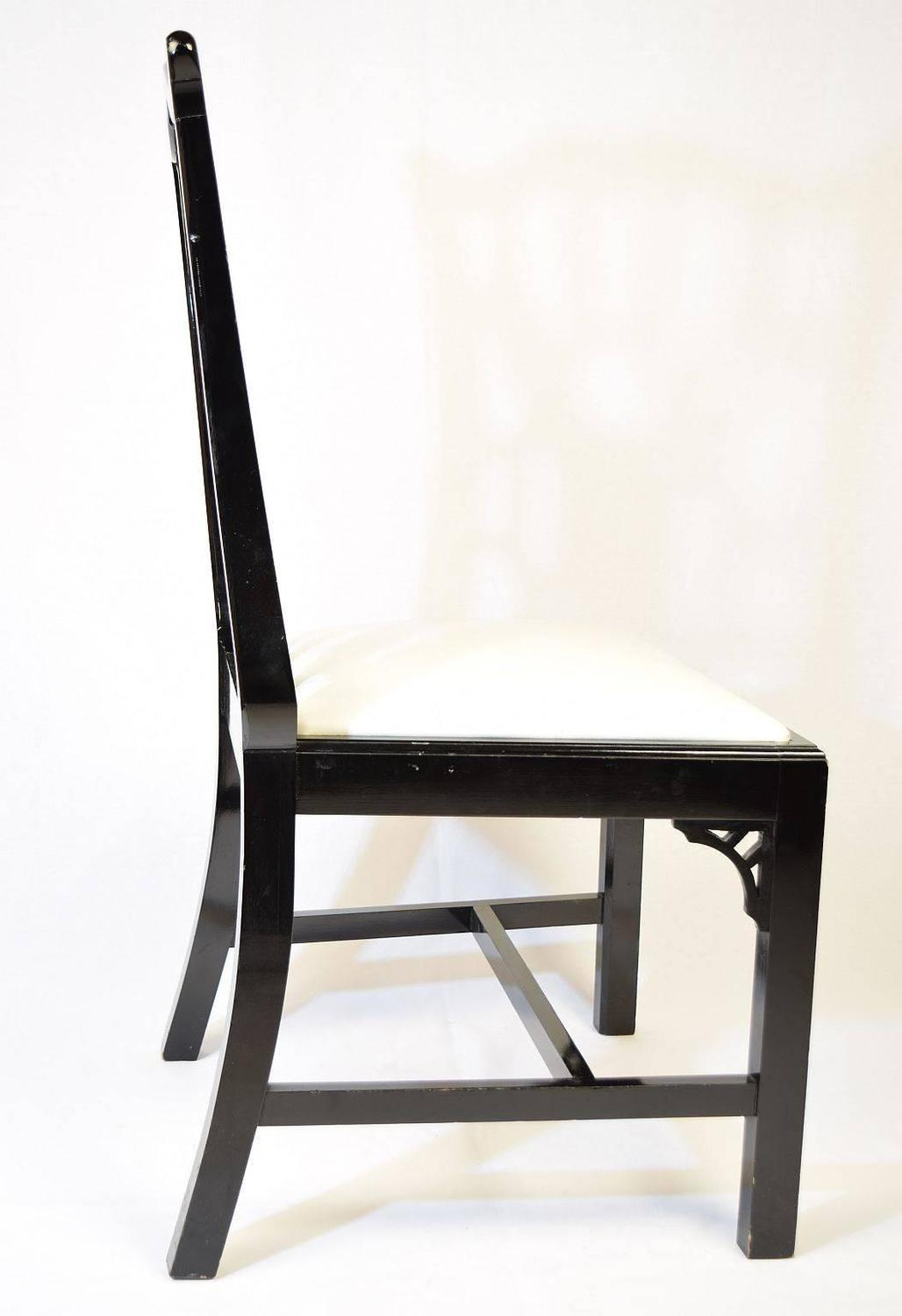 Set Of Eight Black Lacquer Dining Chairs For Sale At 1stdibs