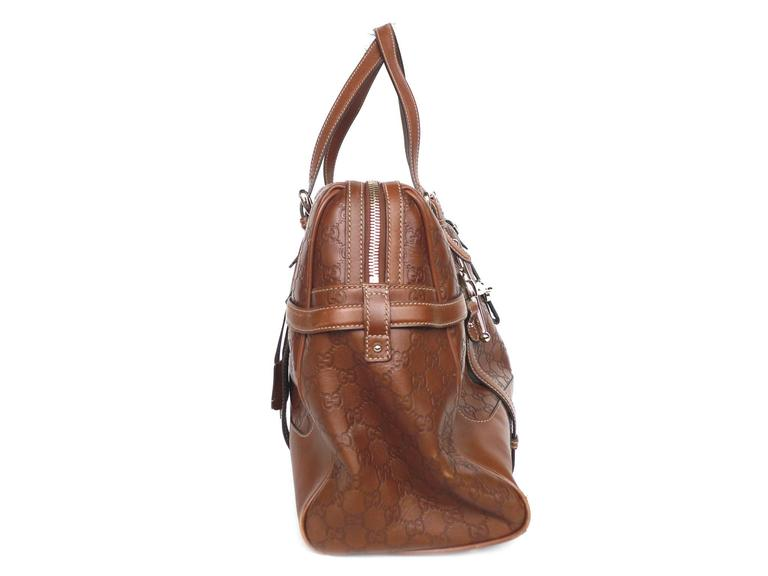 149de6082a9 Gucci 85th Anniversary Brown Leather Horsebit Travel Bag In Good Condition  For Sale In New York