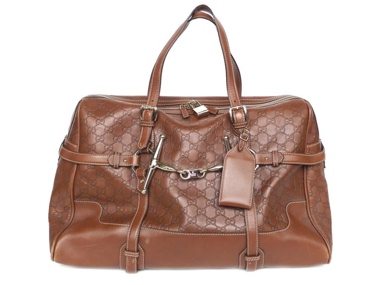 07eafe09f51 Gucci 85th Anniversary Brown Leather Horsebit Travel Bag For Sale. This brown  leather bag by Gucci is a limited-edition travel bag in celebration of