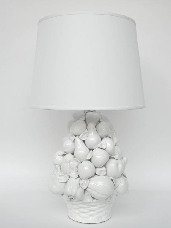 Hollywood Regency Pair Of 1970s White Ceramic Fruit Basket Table Lamps For