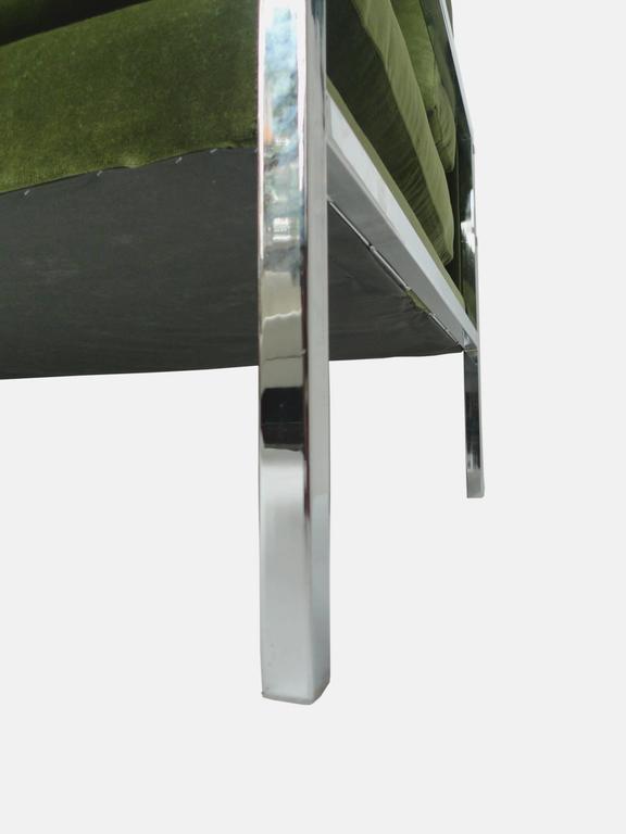 Milo Baughman Chrome And Green Velvet Sofa At 1stdibs