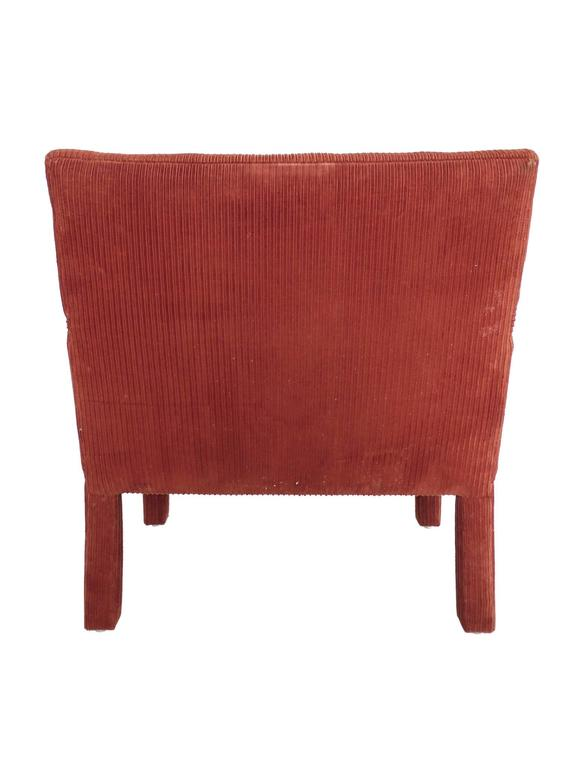 1970s Carmine Orange Corduroy Armchairs In The Style Of