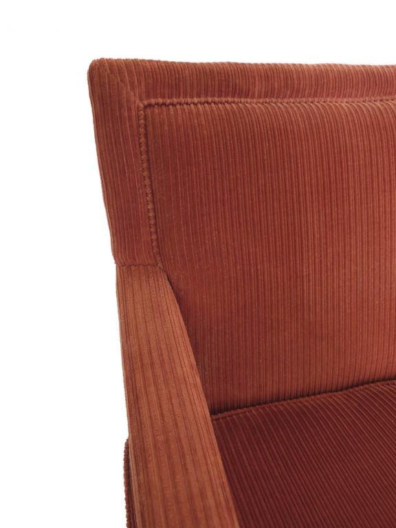 1970s Carmine Orange Corduroy Armchairs In The Style Of