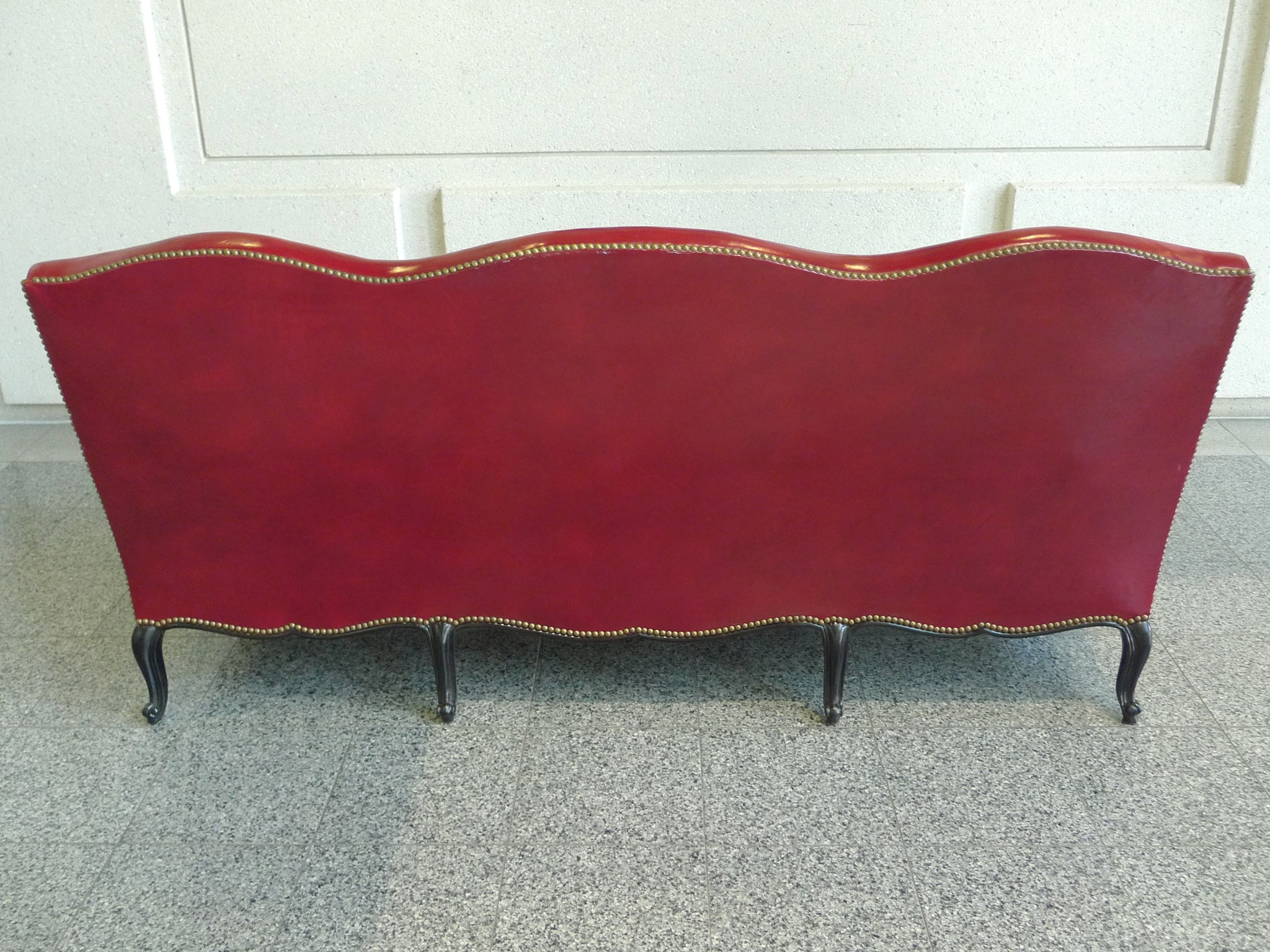 Louis xv style red leather camelback sofa with paul smith fabric at 1stdibs