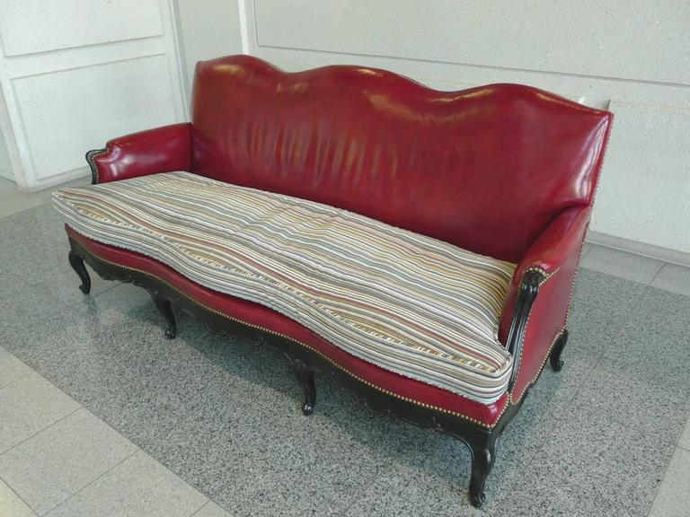 Louis XV Style Red Leather Camelback Sofa with Paul Smith Fabric