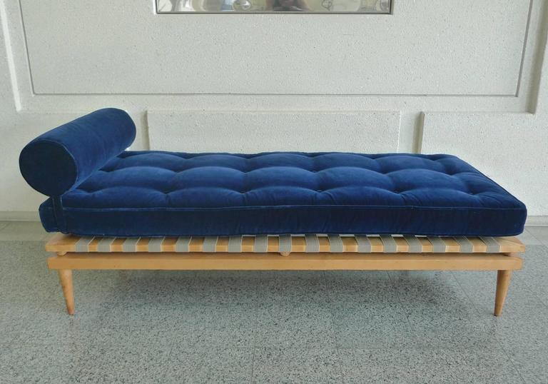 Midcentury Navy Blue Velvet Daybed In The Style Of T H
