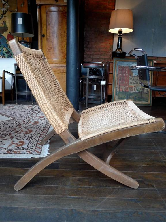 Pleasing Mid Century Folding Rope Chair In The Style Of Hans Wegner Ocoug Best Dining Table And Chair Ideas Images Ocougorg