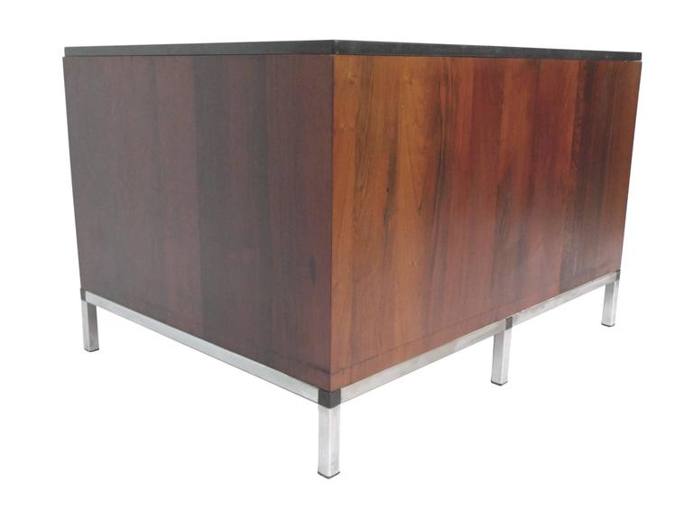 American Midcentury Rosewood and Marble-Top Cabinet in the Style of Florence Knoll For Sale
