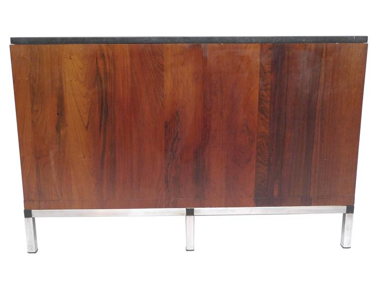 Midcentury Rosewood and Marble-Top Cabinet in the Style of Florence Knoll In Good Condition For Sale In New York, NY