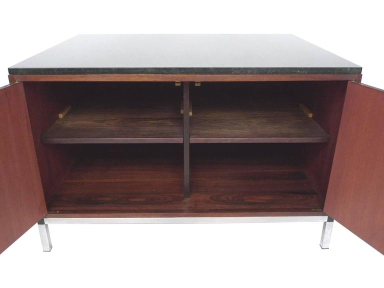 Mid-Century Modern Midcentury Rosewood and Marble-Top Cabinet in the Style of Florence Knoll For Sale