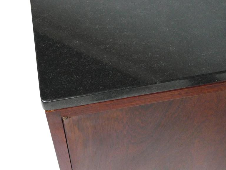 20th Century Midcentury Rosewood and Marble-Top Cabinet in the Style of Florence Knoll For Sale
