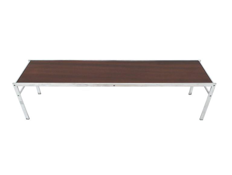Modern Walnut And Chrome Low Coffee Table For Sale At 1stdibs